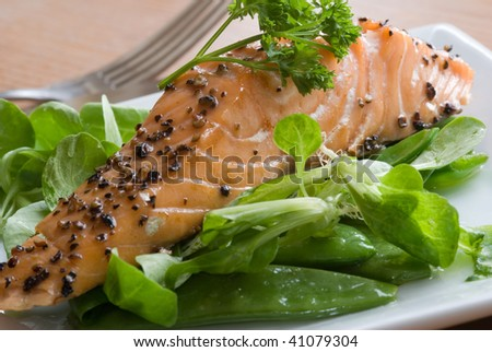 Salmon on rocket and spinach bed - stock photo