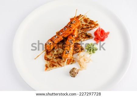 salmon on skewers - stock photo