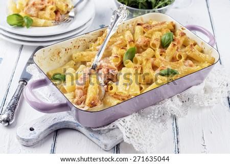 Salmon Pasta Bake - stock photo