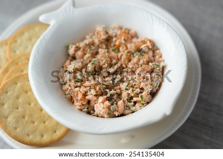 Salmon pate with smoked and roasted fish, onion, mayo in a jar, selective focus - stock photo
