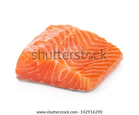 Salmon piece. Isolated on white background - stock photo