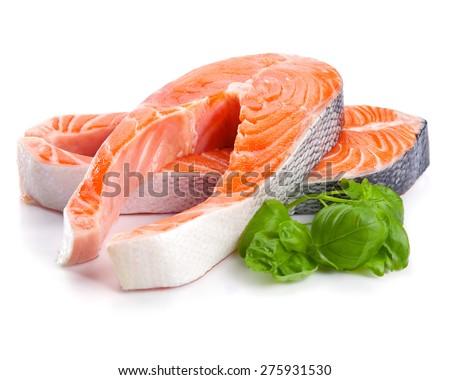 Salmon Red Fish Steak isolated - stock photo