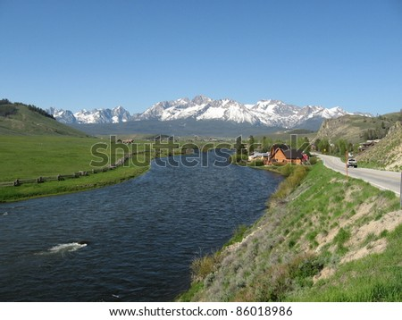 Salmon River and Sawtooth Mountains in Stanley, Idaho - stock photo