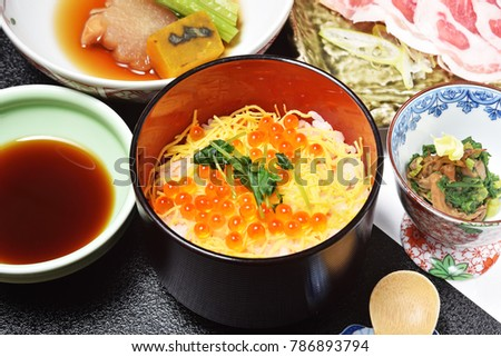 Salmon roe with rice, Japanese food