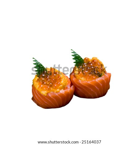 Salmon Roll with salmon roe - stock photo