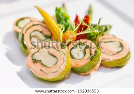 Salmon rolls on restaurant table