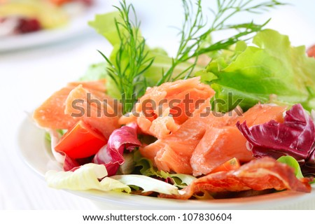 Salmon salad - stock photo