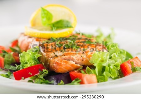 Salmon, Salad, Fillet.