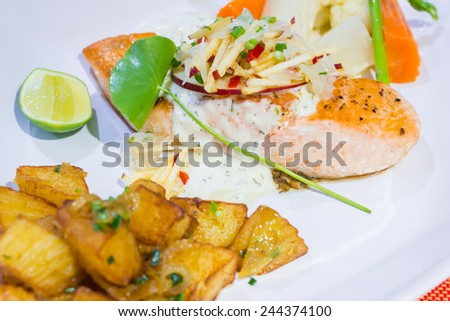 Salmon salad on a plate - stock photo