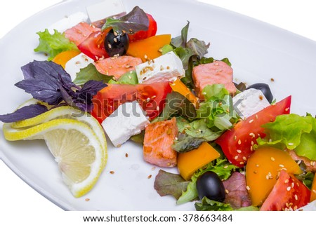 Salmon salad with feta cheese on white long plate