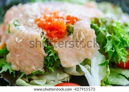 Salmon salad with shrimp egg