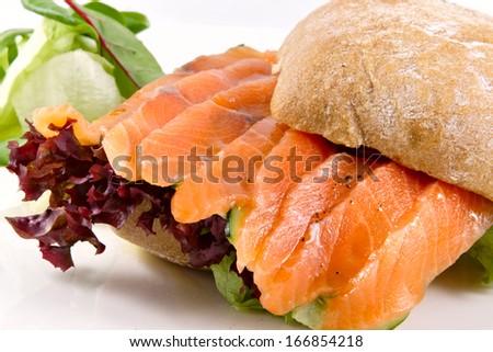 Salmon sandwich - stock photo