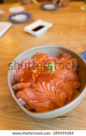 Salmon sashimi and salmon roe, japanese food style - stock photo