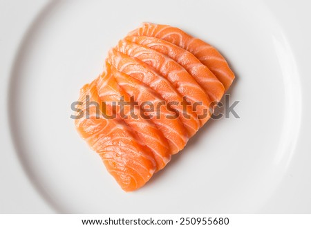 Salmon sashimi, japanese food in plate with wasabi - stock photo