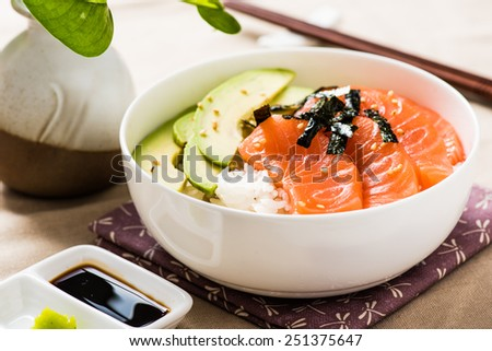 Salmon Sashimi Rice Bowl with Avocado