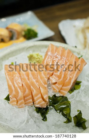 Salmon sashimi [shallow dof] - stock photo