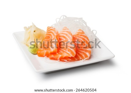 Salmon sashimi with withe plate isolated on white background - stock photo