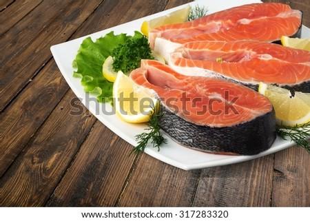 Salmon Seafood. - stock photo