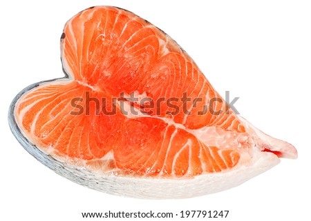 Salmon sliced as heart shape, isolated on white background