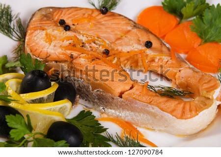 Salmon steak closeup photo - stock photo