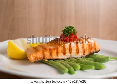 Salmon steak food prepare for serve to customer. - stock photo