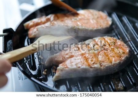salmon steak grill - stock photo