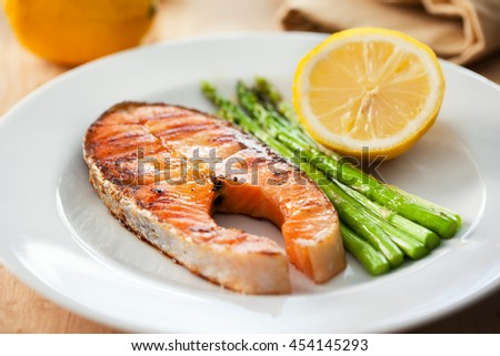 salmon steak  in plate