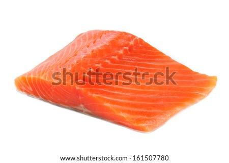 Salmon Steak Isolated on White Background - stock photo