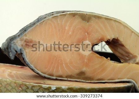 salmon steak, seafood - stock photo