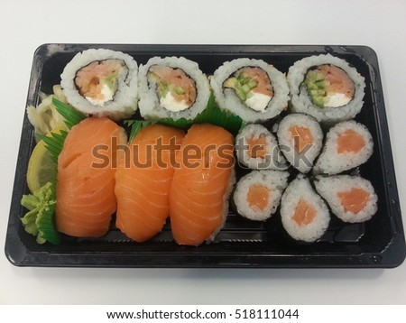 salmon sushi nigiri and rolls