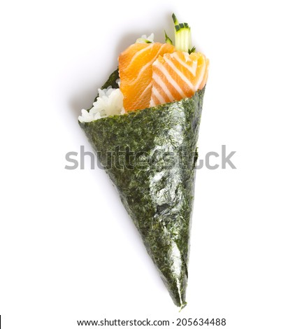 Salmon sushi temaki isolated on white background - stock photo