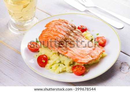 Salmon, Tomato And Smashed Potato With Spring Onion And Coriander. View From Above, Top Studio Shot