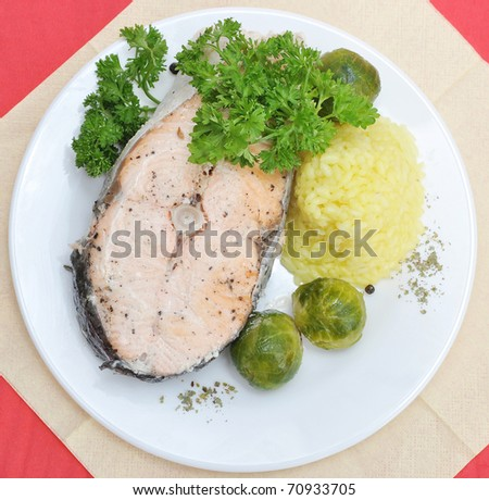 Salmon with Brussels sprouts on a plate - stock photo
