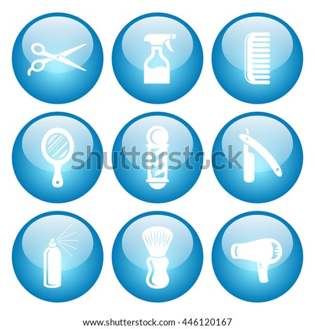 Salon & Barber Hairdresser Icon Set with Blue Button Icons. Raster Version