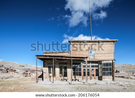 Saloon and bar in the old town. Bodie, California - stock photo