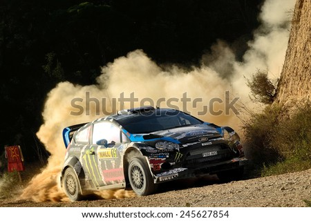 SALOU, SAPIN - OCT 25: American driver Ken Block and his codriver Alex Gelsomino in a Ford Fiesta RS WRC race in the 50th Rally RACC Rally of Spain, on Oct 25, 2014 in Salou, Spain.