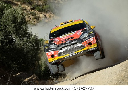 SALOU, SAPIN - OCT 31: Czech driver Martin Prokop and his codriver Michal Ernst in a Ford Fiesta RS WRC race in the 49th Rally RACC Rally of Spain, on Oct 31, 2013 in Salou, Spain.