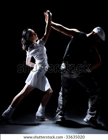 salsa dancing couple on move - stock photo