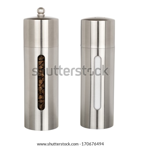 Salt and pepper grinders isolated on white background - stock photo