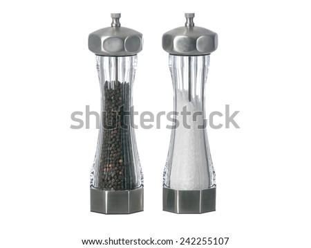 Salt and pepper grinders standing up isolated