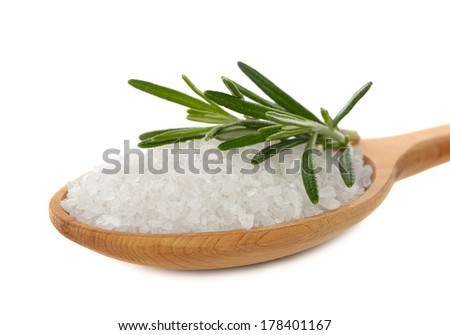Salt and rosemary isolated on white background