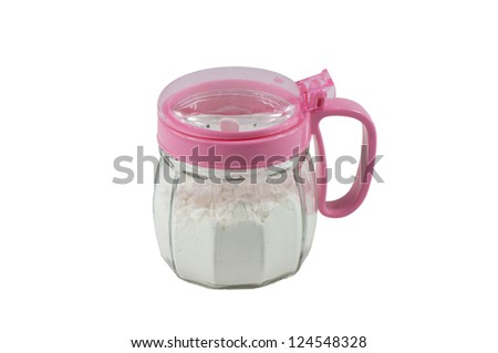 Salt and Starch shaker on a white background - stock photo