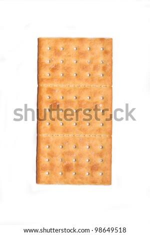 Salt crackers isolated over white background - stock photo