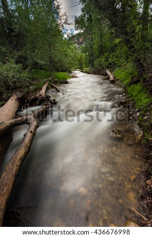 Salt Creek in Bear Canyon Utah. This photo was taken near Nephi Utah in Bear Canyon.  Bear Canyon is located a few miles from the Nebo Loop in Utah. - stock photo