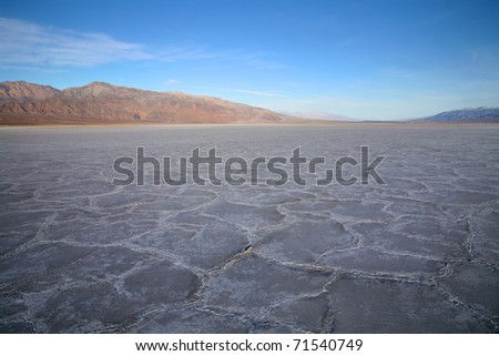 Salt crust in Badwater Basin, the lowest point in north America, Death Valley, California.