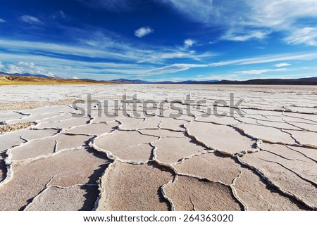 Salt desert in the Jujuy Province, Argentina - stock photo