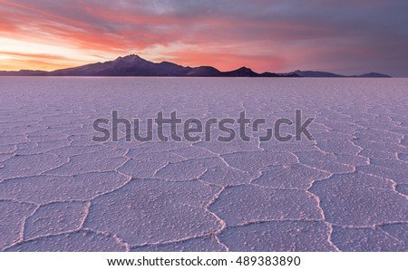 Salt desert Uyuni panorama at sunset, Bolivia