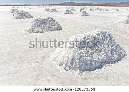Salt extraction in Salar Uyuni, Bolivia. - stock photo
