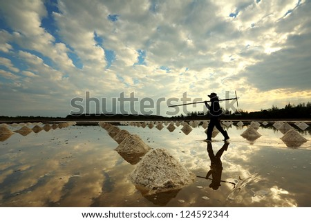 Salt farm in eastern, Thailand - stock photo