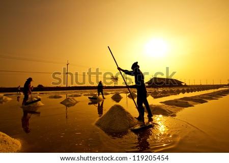 Salt fields in thailand in sunset - stock photo
